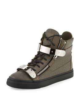 Men's Croc-Embossed Two-Strap High-Top Sneaker, Dark Gray