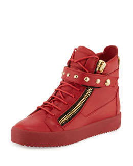 Men's Stud-Strap Leather High-Top Sneaker, Red