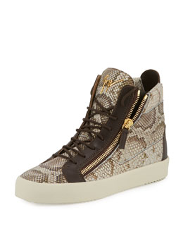 Men's Python-Embossed High-Top Sneaker, Light Brown