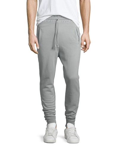 Drawstring Cotton Sweatpants, Plaster