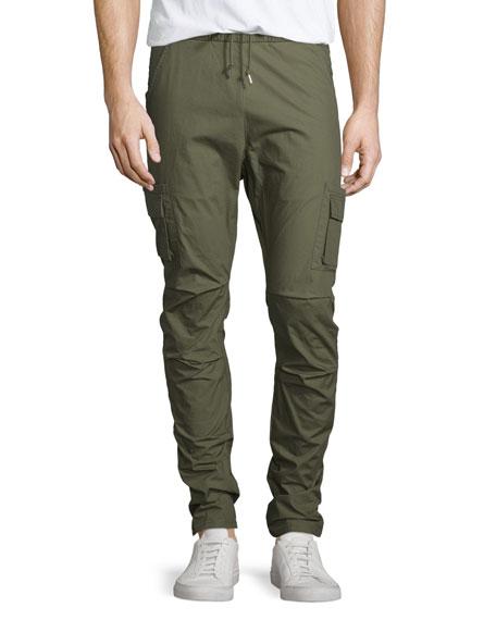 John Elliott Slim-Leg Drawstring Cargo Pants, Olive