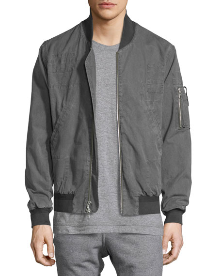 John Elliott Paneled Cotton Flight Jacket, Washed Black
