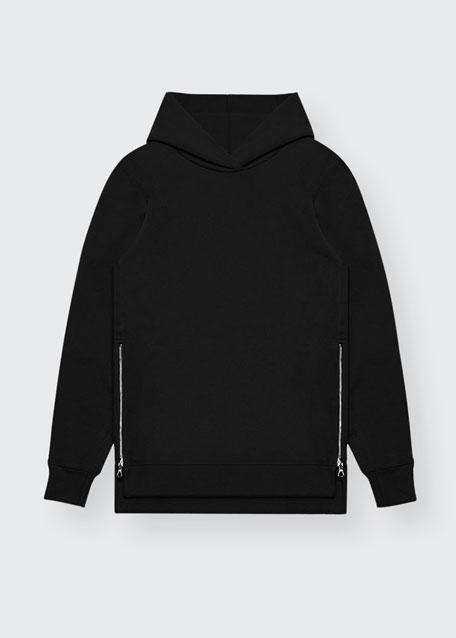 Long-Sleeve Cotton Hoodie Sweatshirt, Black