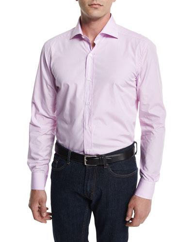 Small Gingham-Check Woven Dress Shirt, Pink