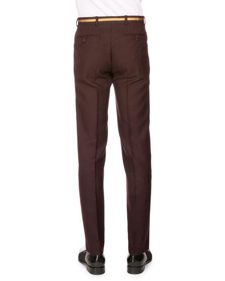 Peeler Wool Trousers w/Taped Waist, Aubergine