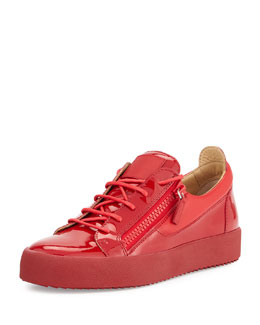 Men's Patent Low-Top Side-Zip Sneaker, Red