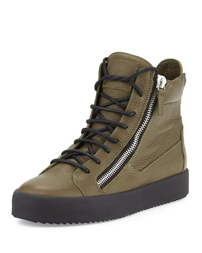 Men's Double-Zip High-Top Sneaker, Olive