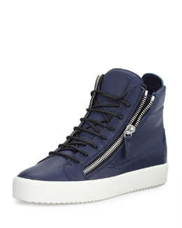 Men's Double-Zip High-Top Sneaker, Navy