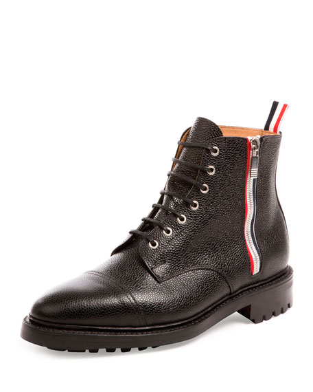 Pebbled Leather Side-Zip Boot, Black