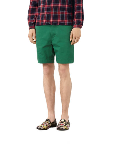 Cotton Shorts with Silk Detail, Green