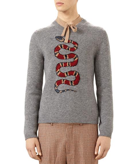 178bb2770d2 Gucci Snake Jacquard Wool Sweater