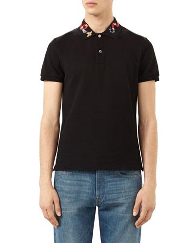 Snake & Bee Embroidered-Collar Polo Shirt, Black
