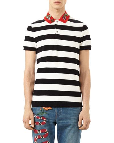 Bee & Snake Embroidered Stripe Polo Shirt, Black