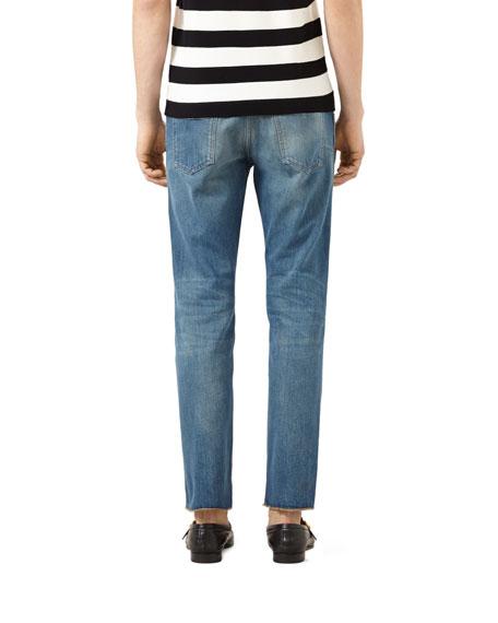 Embroidered Raw-Edge Denim Jeans, Stone Wash