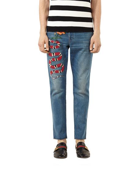 Gucci Embroidered Raw Edge Denim Jeans Stone Wash