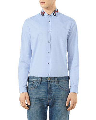 Snake-Embroidered Button-Down Shirt, Blue