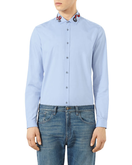607ca9aac06 Gucci Snake-Embroidered Button-Down Shirt, Blue