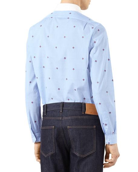 Bee Fil Coupe Cambridge Shirt, Sky