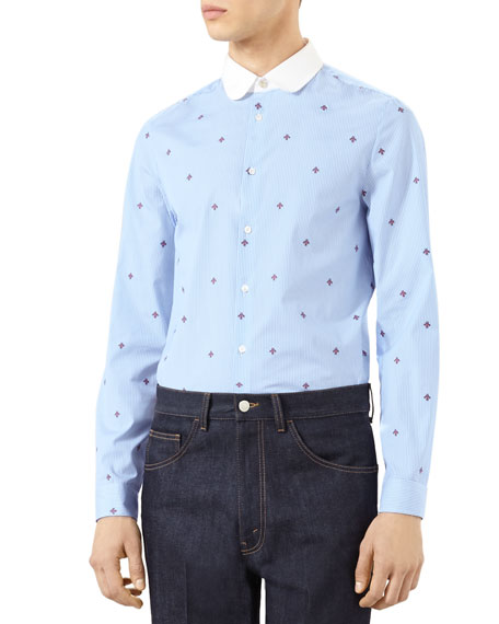 Bee Fil Coupe Cambridge Shirt, Sky