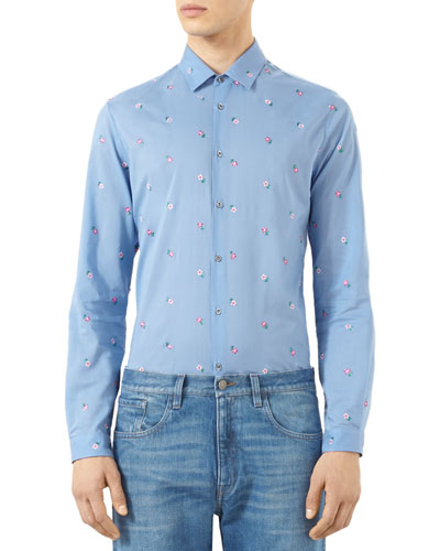 Flower-Embroidered Duke Shirt, Blue