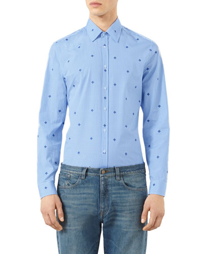 Mini Bee-Embroidered Gingham Sport Shirt, Navy