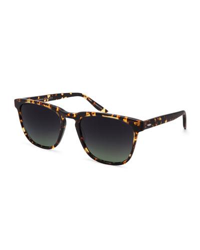 Cutrone Polarized Classic Square Sunglasses, Tortoiseshell/Brown