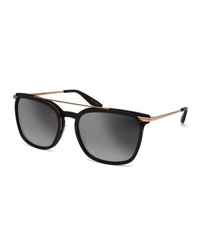 Ronson Polarized Rectangular Top-Bar Sunglasses, Matte Black