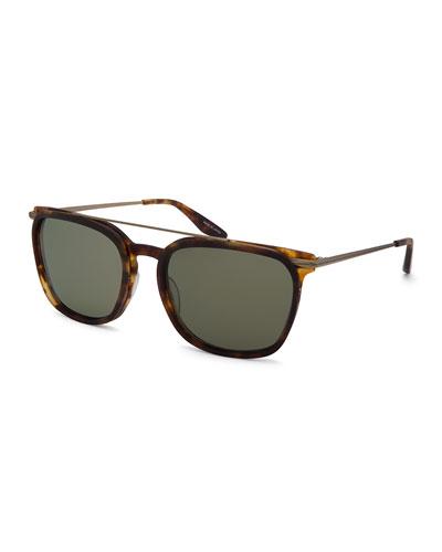 Ronson Polarized Rectangular Top-Bar Sunglasses, Chestnut/Brown