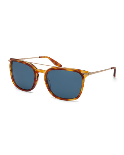 Ronson Polarized Rectangular Top-Bar Sunglasses, Blue/Light Brown