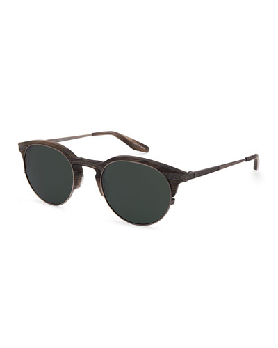 Roux Round Sunglasses, Sage Green/Pewter