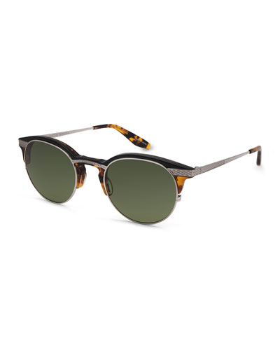 Roux Round Sunglasses, Brown/Amber Tortoise