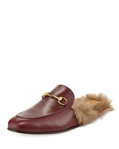 a06cf3e35 Gucci Men's Princetown Kangaroo Fur-Lined Slipper, Red