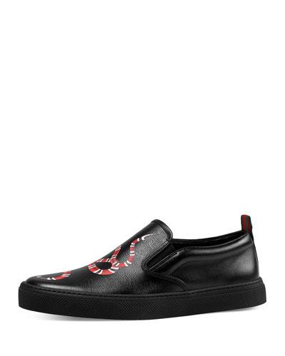 Snake-Print Leather Skate Sneaker, Black