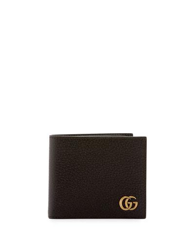 Leather GG Corner Wallet, Dark Brown