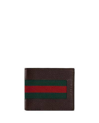 Web Leather Bi-Fold Wallet, Dark Brown