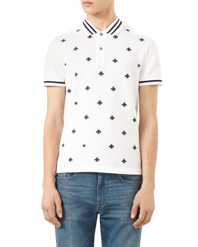 Bee-Embroidered Polo Shirt, Ink