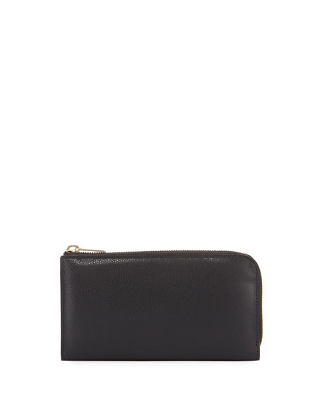 Small Zip-Around Travel Wallet, Black