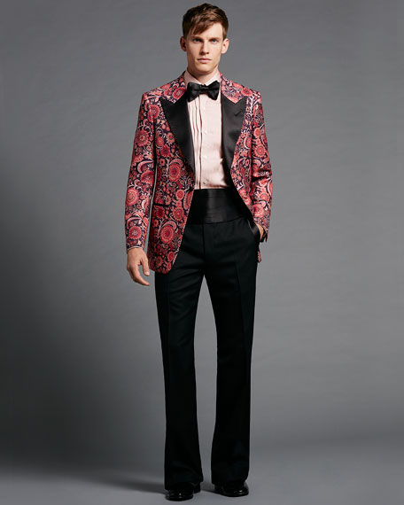 Tom Ford Floral Print Hopsack Tuxedo Jacket Pink Pattern