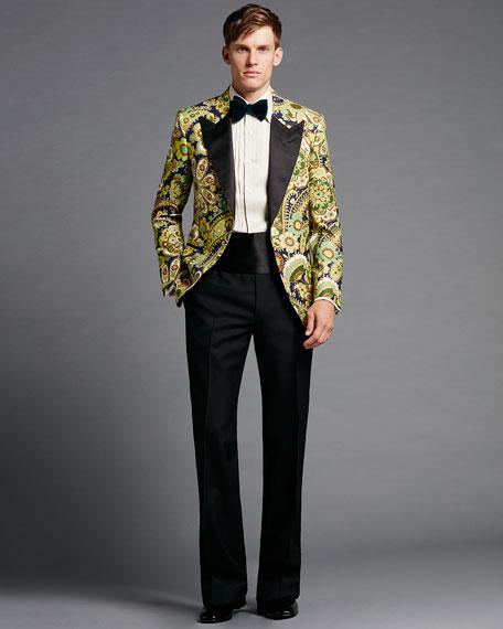 Floral-Print Hopsack Tuxedo Jacket, Green Pattern