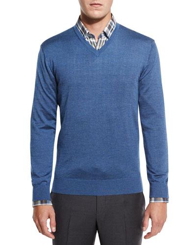 Lightweight V-Neck Sweater, Blue
