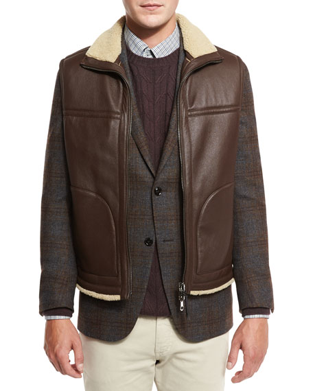 Reversible Shearling-Lined Leather Vest, Brown