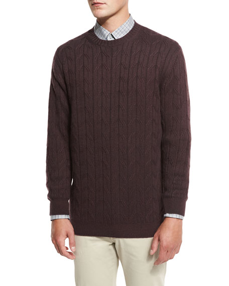 Cable-Knit Cashmere Sweater, Burgundy