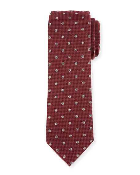 Trofeo Dot Neat Wool Tie, Red