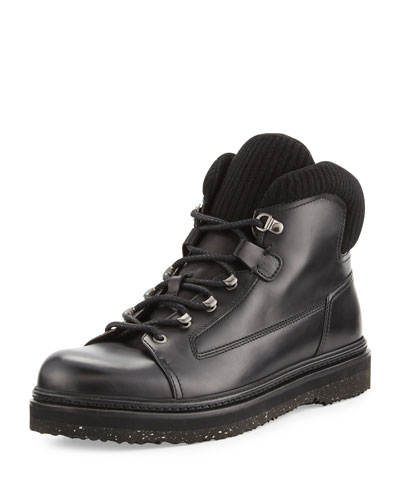 Leather Side-Zip Hiking Boot, Black