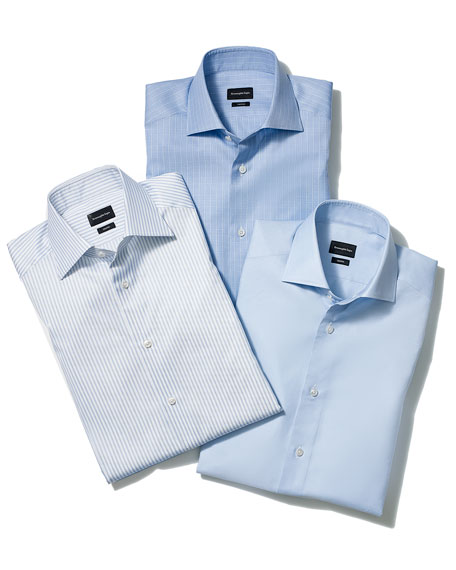Ground-Check Trofeo Dress Shirt, Blue