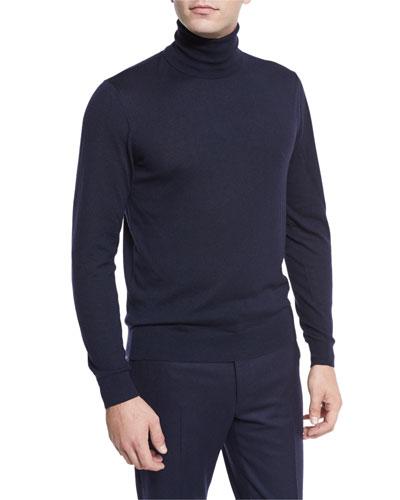 Cashmere Turtleneck Sweater, Navy