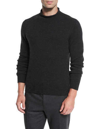 Knit Cashmere Roll-Neck Sweater, Charcoal