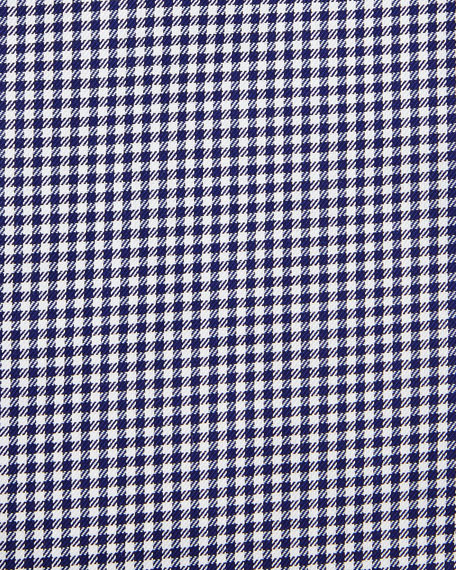 Micro-Gingham Long-Sleeve Dress Shirt, Navy