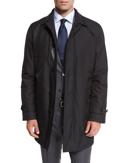 Ermenegildo Zegna Single-Breasted Macintosh Jacket, Black