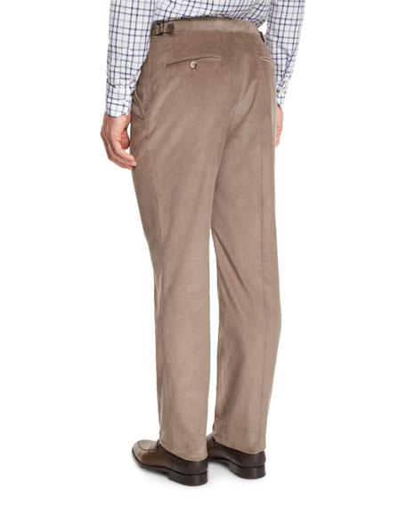 Corduroy Flat-Front Trousers, Tan